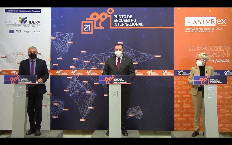 Inauguración en streaming a cargo del Presidente del Principado de Asturias Adrián Barbón, el Presidente de FADE Belarmino Feito y la Directora de Asturex Teresa Vigón